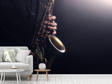 Saxophone player Saxophonist playing jazz music instrument