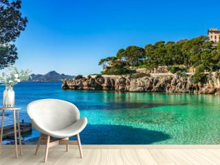 Spain Mediterranean Sea Majorca beach seaside Panorama of Cala Gat in Cala Ratjada