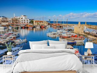 8 December 2013, Cyprus, view from Kyrenia harbor (Boats and its reflections on the historical harbor)