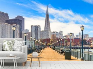 Downton San Francisco and and the Transamerica Pyramid from wooden Pier 7 on a foggy day