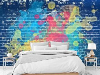 Paint splash on brick wall