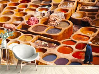 Colorful Tannery in Fes Chouara Morocco