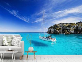 Beautiful bay with sailing boats, Menorca island, Spain