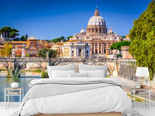 Rome, Italy - Vatican, Saint Peter Basilica and Tiber River