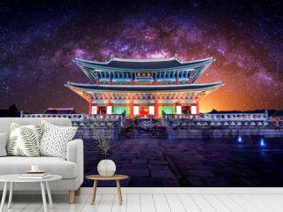 Gyeongbokgung palace and Milky Way in Seoul, South Korea.