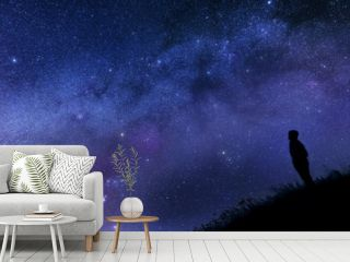 Lonely man watching the stars