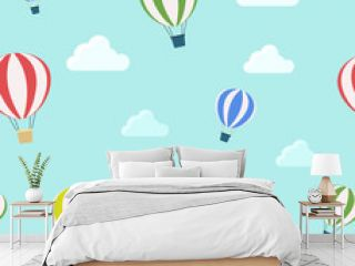 Seamless pattern of air balloons and clouds. Children's print vector illustration in modern flat style for background.
