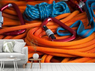 Equipment for mountaineering and rope.