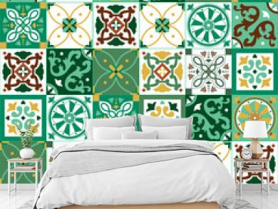 Portuguese traditional ornate azulejo, different types of tiles 6x6, seamless vector pattern in yellow, green and white colors
