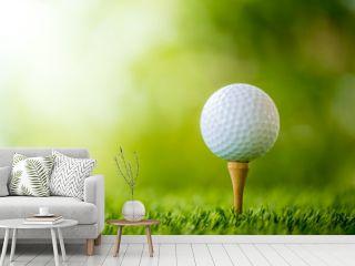golf ball on tee ready to play