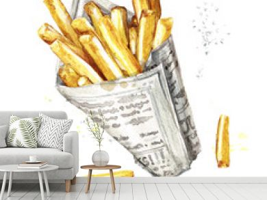 French fries. Watercolor Illustration.