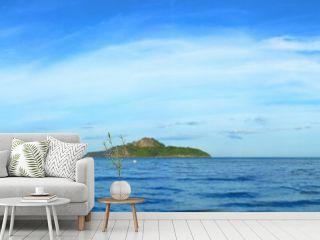 Panoramic view of tropical paradise sea and mountain range with beautiful blue sky at Manao bay , Prachuap Khiri Khan , Thailand.