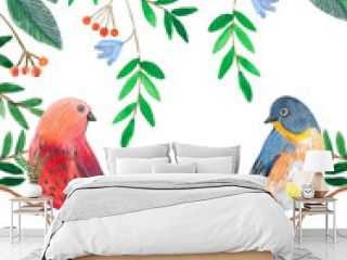 акварельная иллюстрация, птицы сидят на ветках деревьев в листве