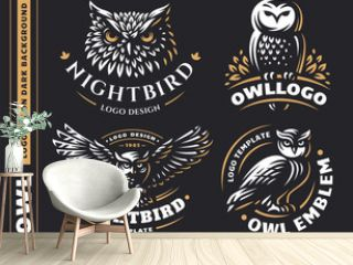 Owl logo set- vector illustrations. Emblem design on black background
