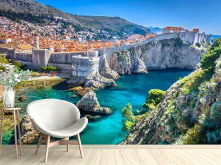 Dubrovnik landscape. / Aerial view at famous european travel destination in Croatia, Dubrovnik old town.