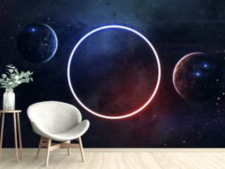 Science fiction space wallpaper, incredibly beautiful planets, galaxies, dark and cold beauty of endless universe. Elements of this image furnished by NASA