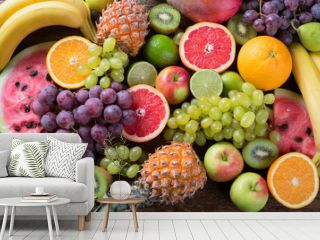 Organic fruits background. Healthy eating concept. Flat lay.