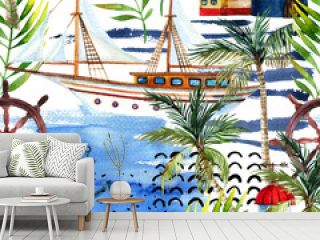 Watercolor adventure seamless pattern in marine style.