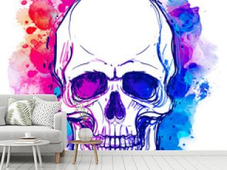 Watercolor sketchy skull with red, blue and purple colors isolated on white background.  Vector illustration.