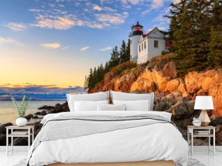 Sunset over Bass Head Light in Acadia National Park, Maine
