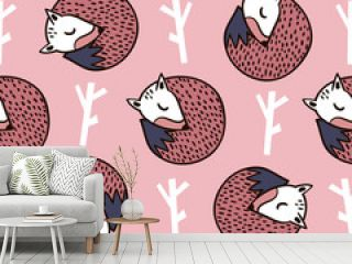 Seamless forest pattern with fox,branch and leaves.Minimalistic texture in scandinavian style.Vector background