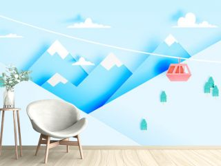 Cable car paper art style with beautiful landscape background
