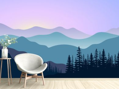 landscape with silhouettes of mountains and forest at sunrise. Vector illustration