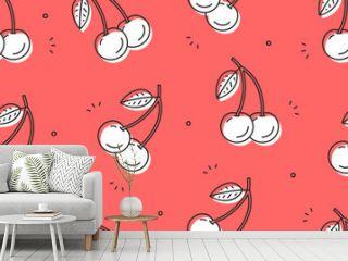Cherry seamless pattern. Vector illustration