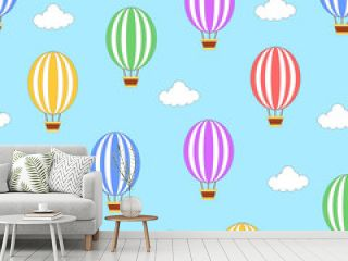 Seamless hot air balloon pattern with blue background