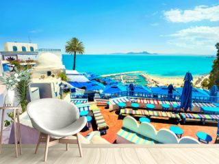 Top view of seaside and terrace of cafe in Sidi Bou Said. Tunisia, North Africa