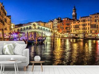 Italy beauty, late evening view to famous canal bridge Rialto in Venice , Venezia