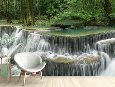 Huai Mae Khamin Waterfall (Sixth floor), tropical rainforest at Srinakarin Dam, Kanchanaburi, Thailand.Huai Mae Khamin Waterfall is the most beautiful waterfall in Thailand. Unseen Thailand