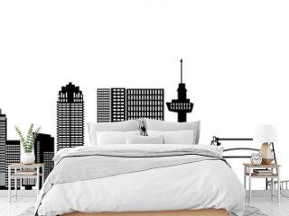 rotterdam skyline with hotel, landmarks erasmusbridge and modern architecture
