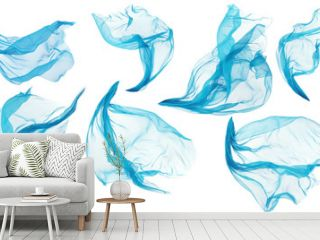 Fabric Cloth Flowing Flying, Cyan Silk Set of Textile Pieces over White