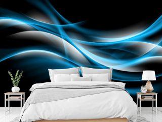 Blue glowing fractal waves background.