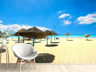 Sunshades on the sandy beach at sunny day. Nabeul, Tunisia, North Africa