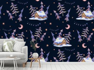 Watercolor vintage seamless pattern with magical forest and hous