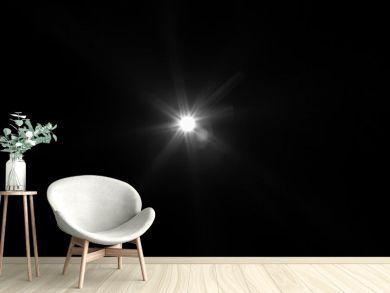 White light flare special effect in dark black.