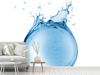 Abstract reservoir of water in the form of a sphere, isolated on a white background