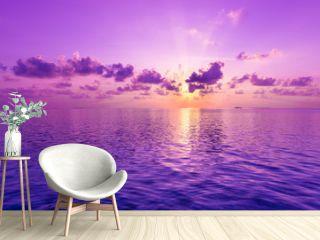 Fantastic sunset. A violet sunset over the ocean.