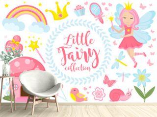Little fairy set, cartoon style. Cute and mystical collection for girls with fairytale forest princess, magic wand, mushroom house, rainbow, mirror, birds, butterflies, flowers. Vector illustration