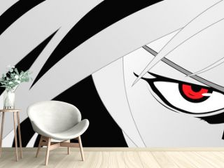 Anime face with red eyes from cartoon. Web banner for anime, manga. Vector illustration