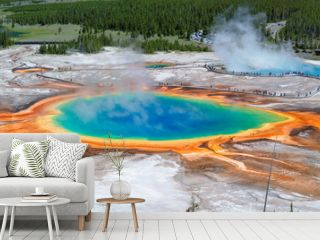 Panorama of Grand Prismatic Spring in Yellowstone national park, Wyoming.