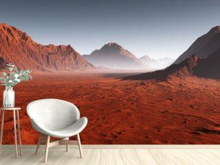 Sunset on Mars, dust obscured Martian landscape. 3D illustration