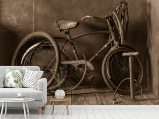 Vintage bike fix service with pump, rubber patch and glue