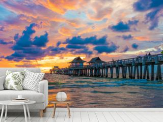 Pier and old bridge on the sea in Florida