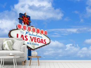 Welcome to fabulous Las Vegas Nevada sign on blue sky background