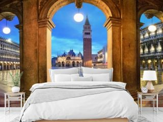 Piazza San Marco hallway night panorama view