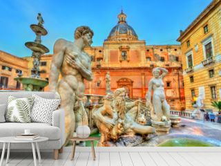 Fontana Pretorian with nude statues in Palermo, Italy