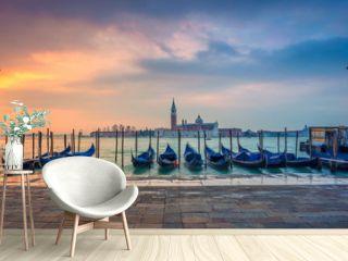 Venice Panorama. Panoramic cityscape image of Venice, Italy during sunrise.